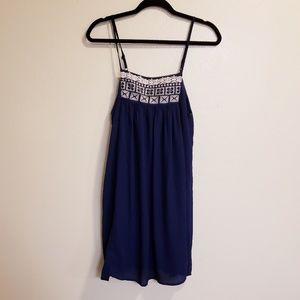 TCEC navy blue sleeveless thin strap midi dress